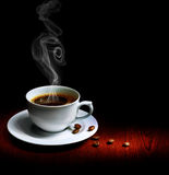 Coffee. Beautiful Cup of Coffee isolated on Black.With copy space stock image
