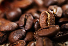 Coffee. Beautiful roasted Coffee beans background.Selective focus royalty free stock photos