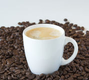 Coffee. Beans and  cup against a white background stock image