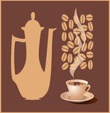 Coffee. Illustration of a coffeepot and a cup of coffee. Vector Royalty Free Stock Photos