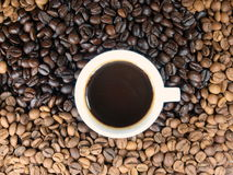 Coffee. Cup with coffee full of beans royalty free stock photo