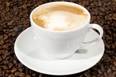 Coffee. Cup of coffee sitting in a bed of coffee beans Stock Photos
