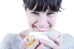 Coffee. Young smiling woman with a coffee cup stock photos