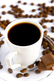 Coffee. A cup of coffee with chocolate royalty free stock photography