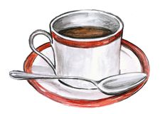 Coffee. Cup of coffee, hand-painted watercolor illustration Stock Image