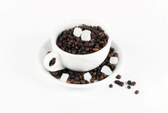 Coffee. Coffe, coffee, cup, beans, brown, morning, simple, background, isolated, white, color, full, business, drink, meeting, break, pause, taste, start, power stock photography