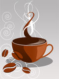 Coffee. Vector Cup of coffee with coffee beans royalty free illustration