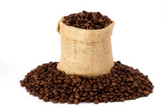 Coffee. Beans in burlap sack Royalty Free Stock Images