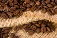 Coffee. Beans on burlap texture Royalty Free Stock Image
