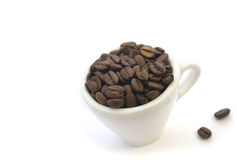 Coffee. In a white cup, fried grains of Stock Image