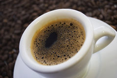 Coffee. In a white cup, fried grains of Stock Images