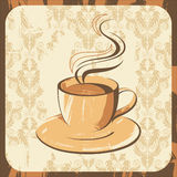 Coffee. Retro-styled artistic background with coffee cup vector illustration