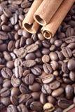 Coffee. Beans and cinnamon sticks Stock Photo
