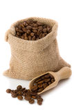 Coffee. Beans in burlap sack Stock Photo