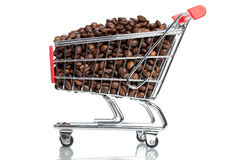 Coffee. A shopping cart full with coffee beans Stock Photo
