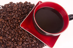 Coffee Cup Saucer Beans Horizontal Composition Stock Image