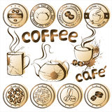 Coffee. Set of grunge coffee and tea icons royalty free illustration