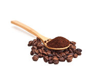 Coffee. Coffee beans and ground coffee in a spoon Stock Photo