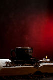 Coffee. Background decoration with coffee, book and candle Royalty Free Stock Photography