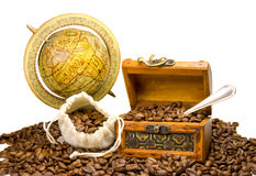 Coffee. In a treasure box Royalty Free Stock Photography