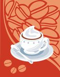 Coffee. Cup of hot coffee on an orange flower background Royalty Free Stock Photography
