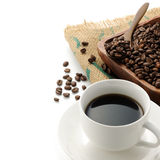 Coffee. A cup of coffee with beans Stock Photos