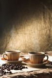 Coffee. Two cup of hot coffee Stock Image