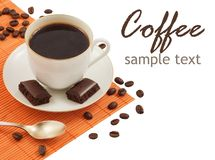 Coffee. Close-up of white cup of coffee and chocolate (easy removable text royalty free stock photos