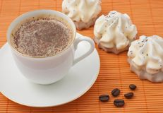 Coffee. Tasty cake at plate closeup with coffee cup royalty free stock photography