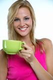 Coffee. Pretty blond woman with cup of coffee royalty free stock photos