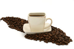 Coffee. Beans and cup of Stock Photos