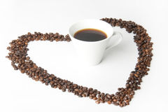 Coffee. And  bean heart Royalty Free Stock Photo