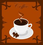 Coffee. Illustration of coffee cup with coffee grains Stock Photo