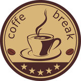 Coffee. Stamp. Isolated on withe Royalty Free Stock Photos