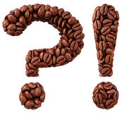 Coffee. Question and exclamation marks from coffee beans. isolated on white Stock Photos