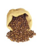 Coffee. Beans in canvas sack isolated on white backgound royalty free stock images