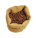 Coffee. Beans in canvas sack isolated on white backgound, with clipping path included royalty free stock photo
