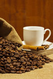 Coffee. The composition of coffee ingredients royalty free stock photo