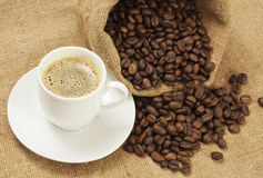 Coffee. Beans on burlap with cup of royalty free stock photo