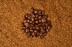 Coffee. Beans and Granulated Instant Stock Photography