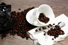 Coffee. Cuo of coffee on wooden table Royalty Free Stock Photos