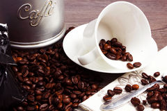 Coffee. Cuo of coffee on wooden table Royalty Free Stock Photography