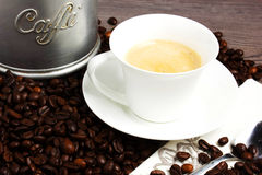 Coffee. Cuo of coffee on wooden table Stock Image