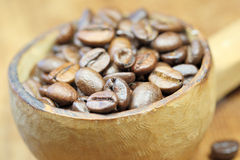 Coffee. Beans in a wooden spoon Royalty Free Stock Image