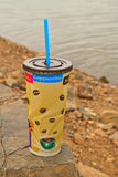 Coffee. Cup on stone and water background royalty free stock photo