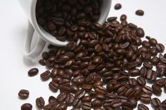 Coffee. Beens and white cup royalty free stock photos