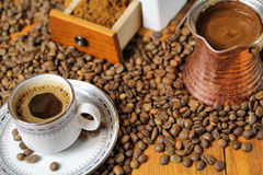 Coffee. Greek or turkish coffee with beans Royalty Free Stock Photo