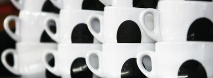 Coffee. Cups in a pile stock photo