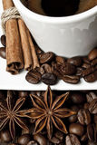 Coffee. In a white cup and spices Stock Photo