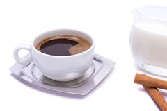 Coffee. And milk, served and ready for the morning awakening Royalty Free Stock Photography